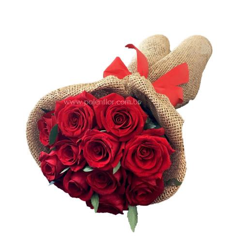 Buquê Compacto 12 Rosas Vermelhas