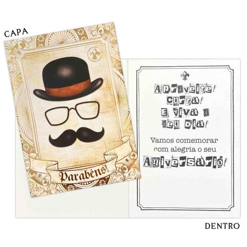 Cartão M - Aniversário Bigode
