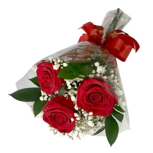 Mini Buquê 3 Rosas Vermelhas Celofane